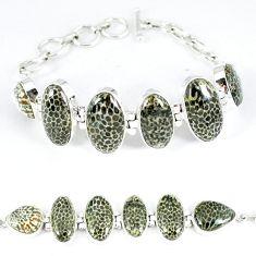 925 silver natural black stingray coral from alaska tennis bracelet k50375