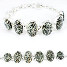 Natural black stingray coral from alaska 925 silver tennis bracelet k50376