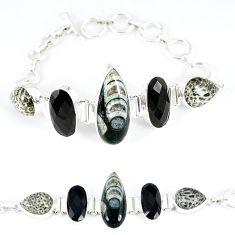 925 sterling silver natural black orthoceras onyx tennis bracelet k50377