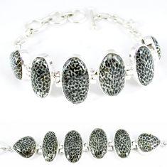 Natural black stingray coral from alaska 925 silver tennis bracelet k50378