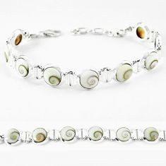 Natural white shiva eye 925 sterling silver tennis bracelet jewelry k56402