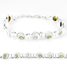 Natural white shiva eye 925 sterling silver tennis bracelet jewelry k56407