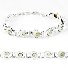 Natural white shiva eye 925 sterling silver tennis bracelet jewelry k56412