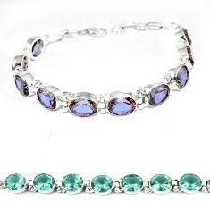 Blue alexandrite (lab) 925 sterling silver tennis bracelet jewelry k57091
