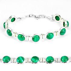 Natural green malachite (pilot's stone) 925 silver tennis bracelet k57146