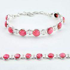 925 sterling silver natural pink rhodochrosite inca rose tennis bracelet k57940