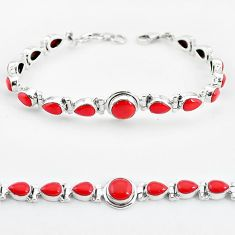 Red coral 925 sterling silver tennis bracelet jewelry k58538