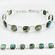 Natural yellow flase labradorite spectrolite 925 silver tennis bracelet k58563