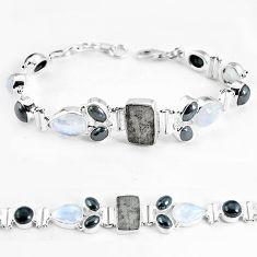 Natural grey meteorite hematite 925 sterling silver tennis bracelet k61886