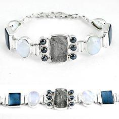 925 sterling silver natural grey meteorite hematite tennis bracelet k61887