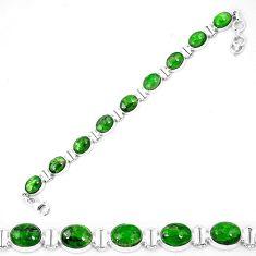 Natural green chrome diopside 925 sterling silver tennis bracelet k74053
