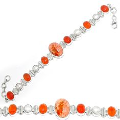 Natural mexican fire opal cornelian (carnelian) pearl 925 silver bracelet k74722