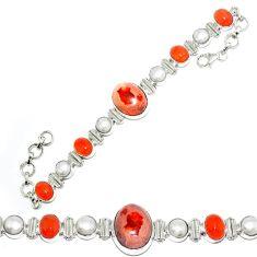 925 silver natural mexican fire opal cornelian (carnelian) pearl bracelet k74724