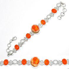 Natural mexican fire opal cornelian (carnelian) 925 silver bracelet k74727