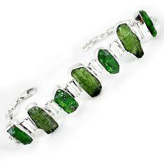 Green chrome diopside rough moldavite (genuine czech) 925 silver bracelet k76201