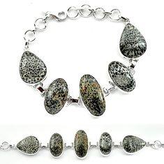 Natural black stingray coral from alaska 925 silver bracelet jewelry k77303