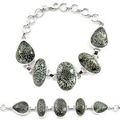 Natural black stingray coral from alaska 925 silver bracelet jewelry k77305
