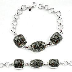 Natural black stingray coral from alaska 925 silver bracelet jewelry k77306
