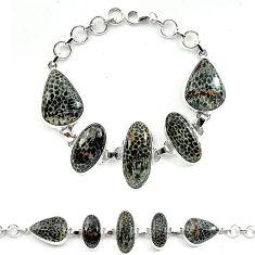 Natural black stingray coral from alaska 925 silver bracelet k77309
