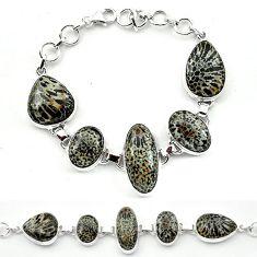 Natural black stingray coral from alaska 925 silver bracelet k77311