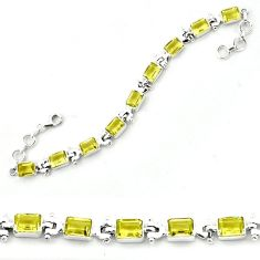 Natural lemon topaz octagan 925 sterling silver bracelet jewelry k78097