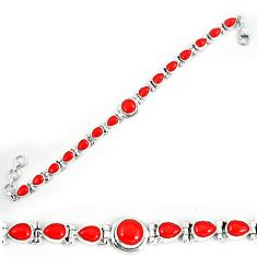 Red coral 925 sterling silver tennis bracelet jewelry k78145