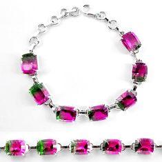 Watermelon tourmaline (lab) 925 sterling silver tennis bracelet jewelry k83166