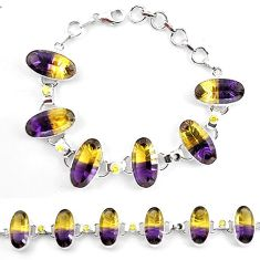 Multi color ametrine (lab) topaz 925 sterling silver tennis bracelet k83168