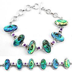 925 silver natural green abalone paua seashell amethyst tennis bracelet k83176