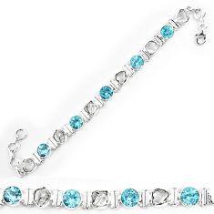 Natural white herkimer diamond topaz 925 silver tennis bracelet k85761