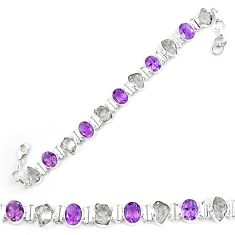 Natural white herkimer diamond amethyst 925 silver tennis bracelet k85762
