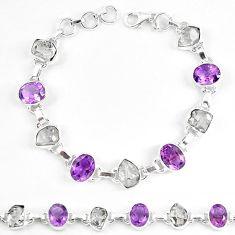Natural white herkimer diamond amethyst 925 silver tennis bracelet k85768