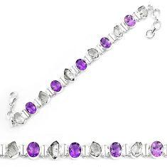 Natural white herkimer diamond amethyst 925 silver tennis bracelet k85769