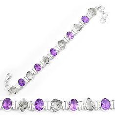Natural white herkimer diamond amethyst 925 silver tennis bracelet k85770