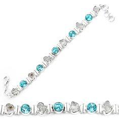 Natural white herkimer diamond topaz 925 silver tennis bracelet k85777