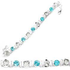 925 silver natural white herkimer diamond blue topaz tennis bracelet k85778