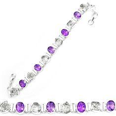 Natural white herkimer diamond amethyst 925 silver tennis bracelet k85779