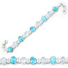 Natural blue larimar moonstone 925 sterling silver tennis bracelet k85982