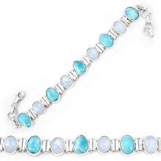 Natural blue larimar moonstone 925 sterling silver tennis bracelet k85983