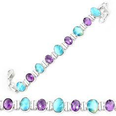 925 sterling silver natural blue larimar amethyst tennis bracelet k85984
