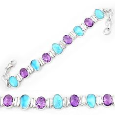 Natural blue larimar amethyst 925 sterling silver tennis bracelet k85985