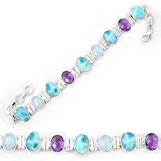 Natural blue larimar amethyst 925 sterling silver tennis bracelet k85986