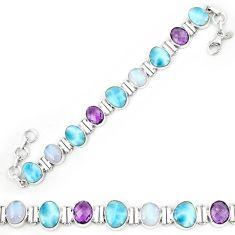 Natural blue larimar amethyst 925 sterling silver tennis bracelet k85987