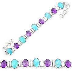 Natural blue larimar amethyst 925 sterling silver tennis bracelet k85989