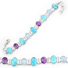 Natural blue larimar amethyst 925 sterling silver tennis bracelet k85990