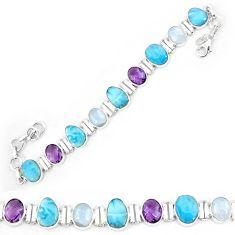 925 sterling silver natural blue larimar amethyst tennis bracelet k85991