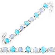 Natural blue larimar moonstone 925 sterling silver tennis bracelet k85992