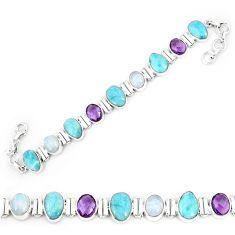 Natural blue larimar amethyst 925 sterling silver tennis bracelet k85993