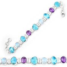 Natural blue larimar amethyst 925 sterling silver tennis bracelet k85994