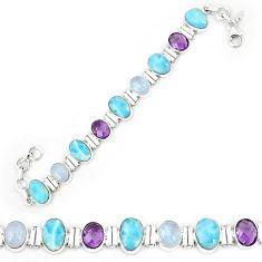 925 sterling silver natural blue larimar amethyst tennis bracelet k85995